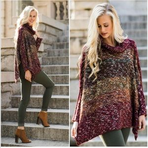 Multicolor cowl neck sweater